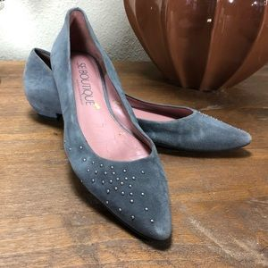 SE Boutique Gray Suede Pointed Ballet Flats